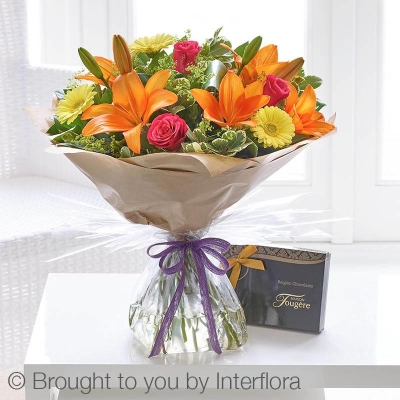 Summer Sunshine Handtied with Belgian Chocolates