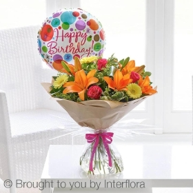 Happy Birthday Summer Sunshine Handtied With Balloon Buy Online Or Call 01775 769306